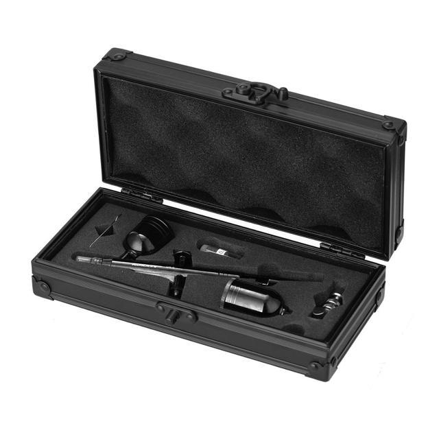 KKmoon pistola pulverizadora multiusos, juego de aerógrafo de doble acción con alimentación por gravedad, pistola pulverizadora de gatillo de 8cc para arte artesanal, pulverización de pintura