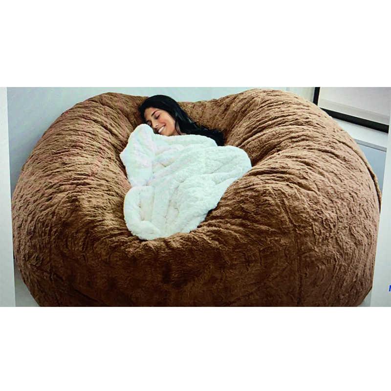 livraison directe 7ft geant fourrure haricot sac couverture grand rond doux moelleux fausse fourrure pouf paresseux canape lit couverture meubles de