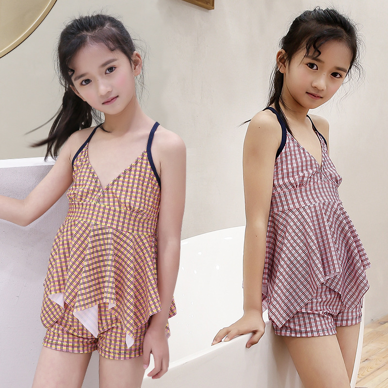 Hot Selling Camisole Off-Shoulder Split Type Swimwear Cute KID'S Swimwear Women's Beach Hot Springs Tour Bathing Suit Manufactur