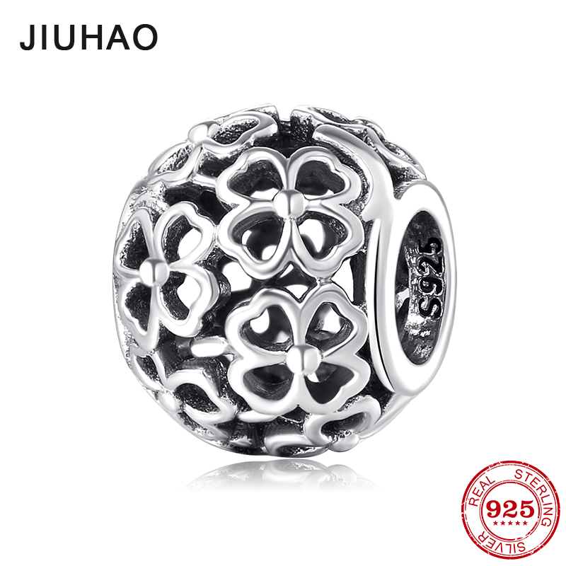 New Hearts four-leaf clover petals Hollow Round 925 Sterling Silver Beads Fit Original Pandora Charm Bracelet Jewelry making(China)