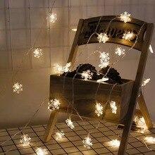 2pcs 10LEDs Christmas Tree Snow Flakes Led String Fairy Light Xmas Party Home Wedding Garden Garland Lights Decoration