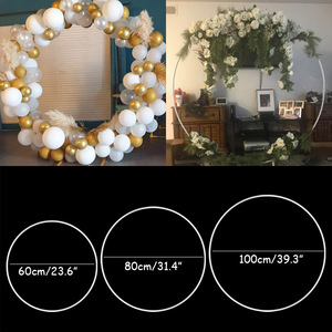 60/80/100cm plastic artificial flower wreath frame wedding decoration DIY arch bow balloon flowers garland Christmas party decor