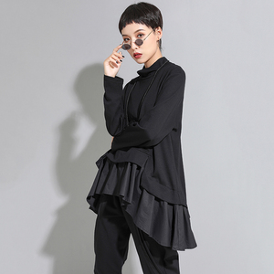 Image 4 - [EAM] Loose Fit סימטרי ראפלס סווטשירט חדש גבוה צווארון ארוך שרוול נשים גודל גדול אופנה גאות אביב סתיו 2020 1A529
