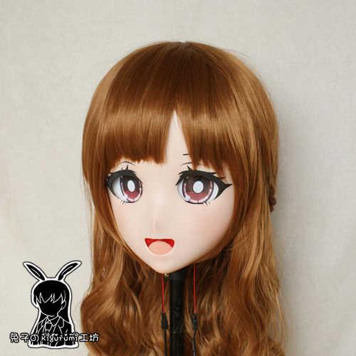 (Coelho 84) resina cruz vestido bonito menina cabeça oferta boneca máscara anime japonês kigurumi cosplay máscara com peruca