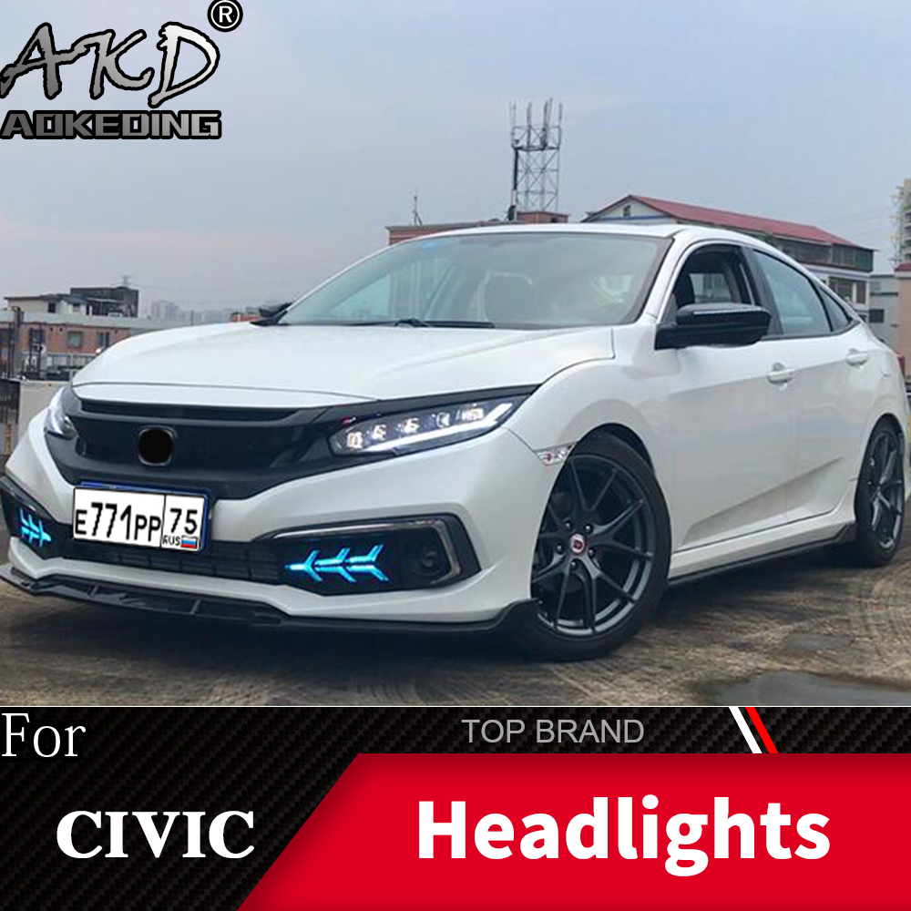 Phare pour Honda CIVIC X G10 2016-2019 phares antibrouillard feux de jour DRL H7 LED Bi xénon ampoule voiture accessoires