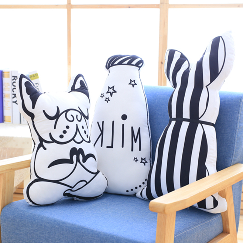 Nordic Style Fashion Cartoon Animals Dog Doing Yoga Pillow Plush Milk Bottle Decorative Cushion Cute Rabbit Stuffed Head Pillows