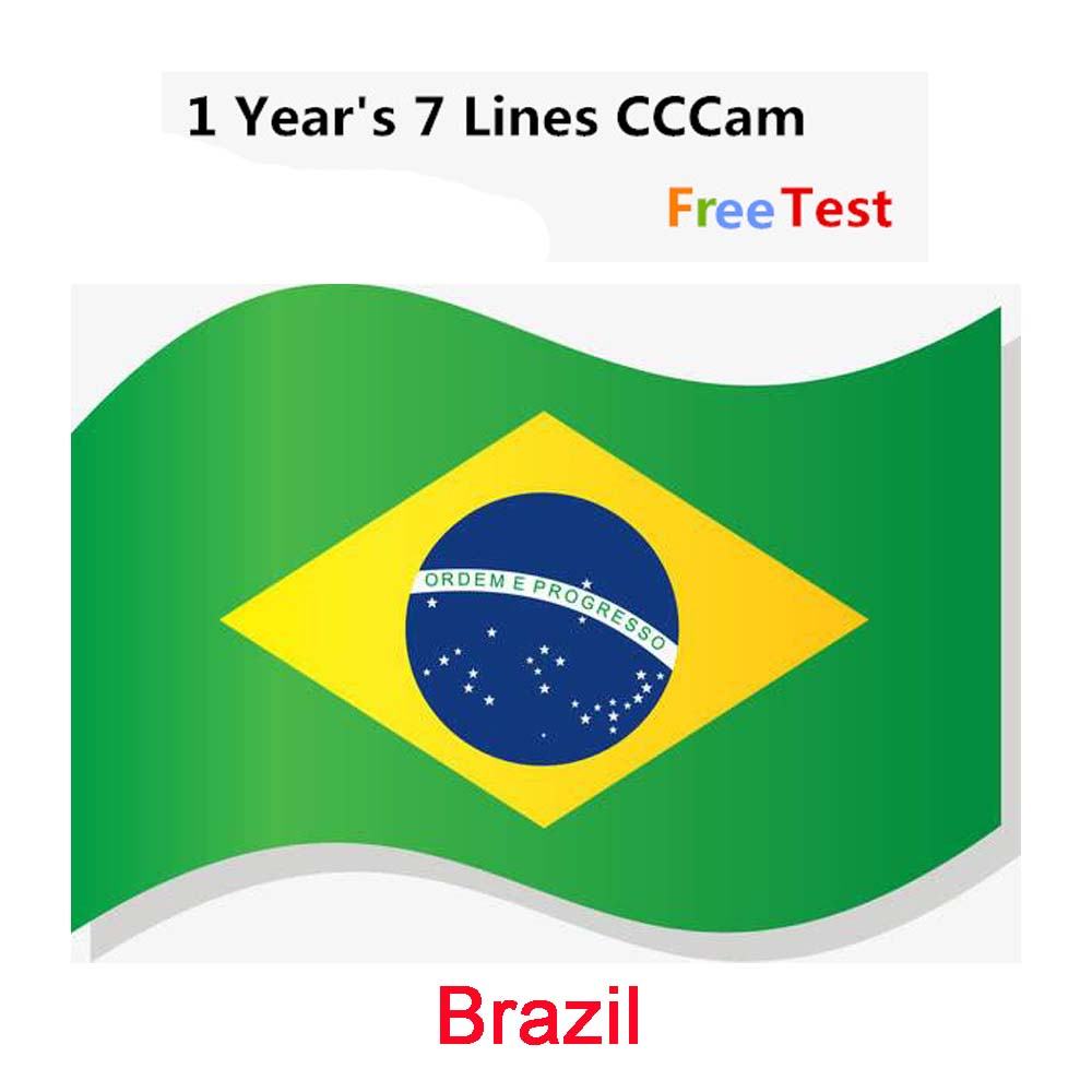 Special For Brazil Europe 7lines HD AV Cable For Satellite Receiver Cccam Lines Of 1 Year DVB-S2 Europe Clines For Free Sat V