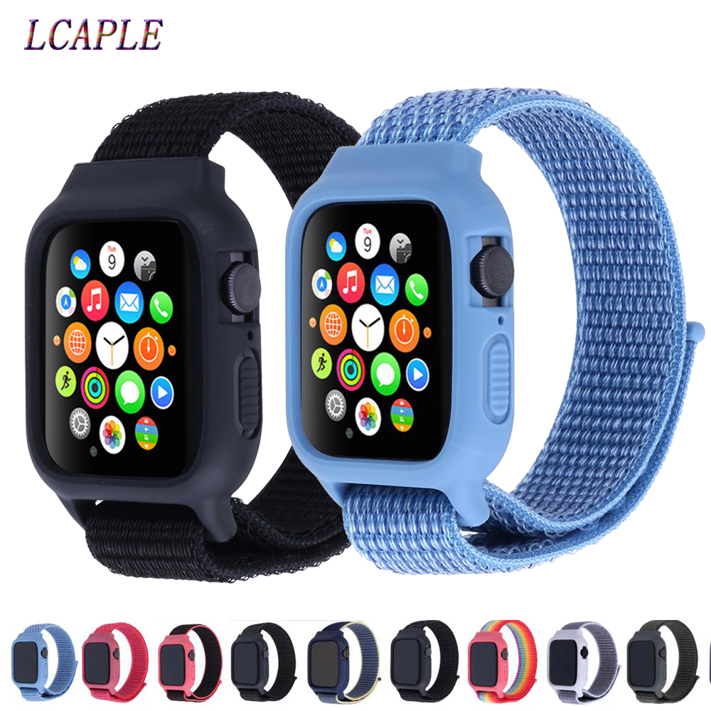 Case+strap For Apple Watch 5 Band 44mm 40mm Iwatch Band 42mm 38mm Pulseira Correa Apple Watch 5 4 3 Nylon Bracelet+silicone Case