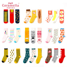 Caramella Autumn Winter Women Cotton Socks Cute Cartoon Funny Female Harajuku skateboard 3Pairs/Lot Drop Shipping