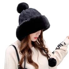 Cable Bomber-Hat Trapper-Cap Earflap Snow Plush Winter Women Windproof Warm Cute Knit