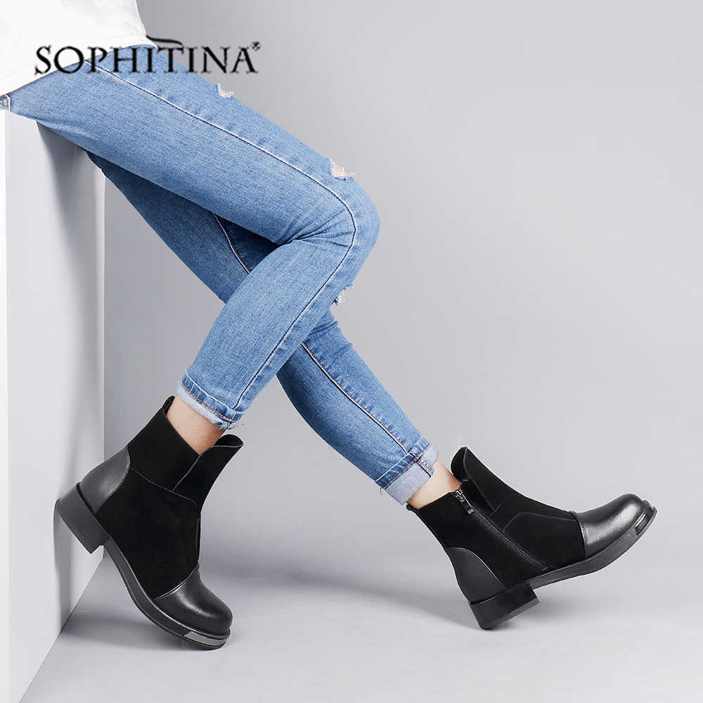 SOPHITINA şık bayanlar yarım çizmeler rahat yuvarlak ayak kare topuk ayakkabı rahat düz el yapımı Med topuk kadın botları SC263