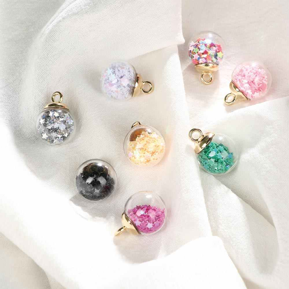 8Pcs Universal Beads Colorful Transparent Glass Ball Star Charms Pendant Finding DIY Women Making Jewelry Accessories Earring