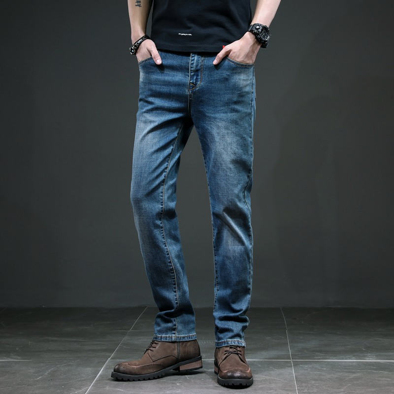 KSTUN Jeans Men Retro Blue Straight Regular Fit Business Casual Denim Pants Men's Jeans Long