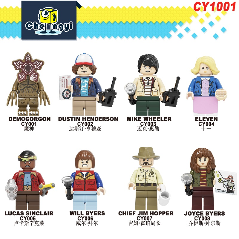 CY1001 Juguetes Stranger Things Demogorgon Dustin Henderson Mike Wheeler Eleven Figures Building Blocks For Children Gift Toys
