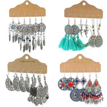 Conjunto de pendientes largos bohemios con personalidad, joyería étnica Vintage, pendientes colgantes de regalo para mujer, accesorios bohemios