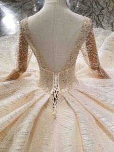 Image 5 - BGW HT43024 Handmade Wedding Dresses 2020 O neck Long Sleeve Luxury Beaded Shiny Lace Bride Wedding Gown Fashion New Material
