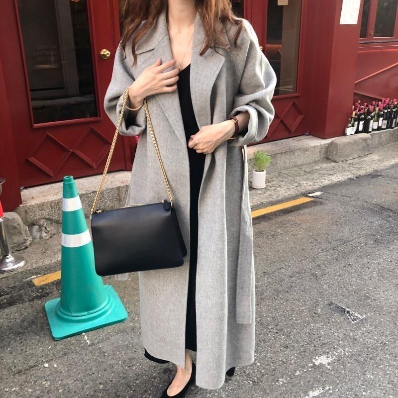 Hb0c436977f194bdeaa5cbfe792189fdeM Winter Fashion Coats Women Wool-blend Coat Lazy Oaf Long Chunky Warm Coat Western Style Fitted Waist Lace-up Loose Coat
