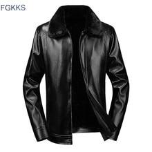 FGKKS Модная брендовая мужская куртка из искусственной кожи, новая мужская куртка со съемным меховым воротником, флисовое кожаное пальто, повседневные кожаные куртки для мужчин
