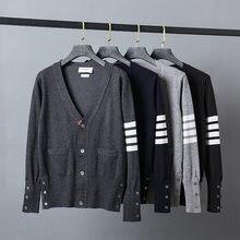2021 moda tb thom marca suéteres masculino fino ajuste com decote em v cardigans roupas listrado algodão lã primavera e outono casaco casual