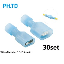 6.3 Insulated connector Insert spring Nylon insulated connector Wire connector Terminal block male and female blue 30