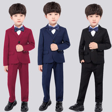 Dollplus Spring 5pcs Set Jacket +Vest +Pants+Shirts+Tie Children's Formal Suit Sets Flower Boys Wedding Party Gentleman Costume