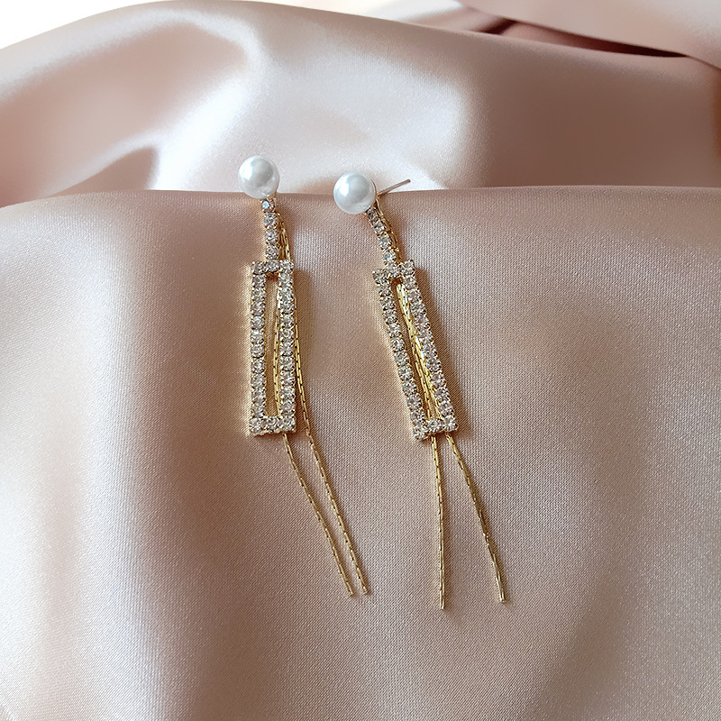 Luxury Shiny Full Rhinestone Rectangle Drop Earrings for Women Long Tassel Pearl Dangle Earring Weddings Brides Jewelry Gifts