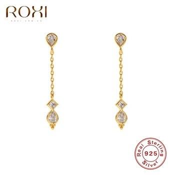 ROXI גבישי Teardrop Stud עגילים לנשים כיכר אוזן הרבעה יוצאת דופן תכשיטי עגיל פירסינג 925 סטרלינג כסף Pendientes