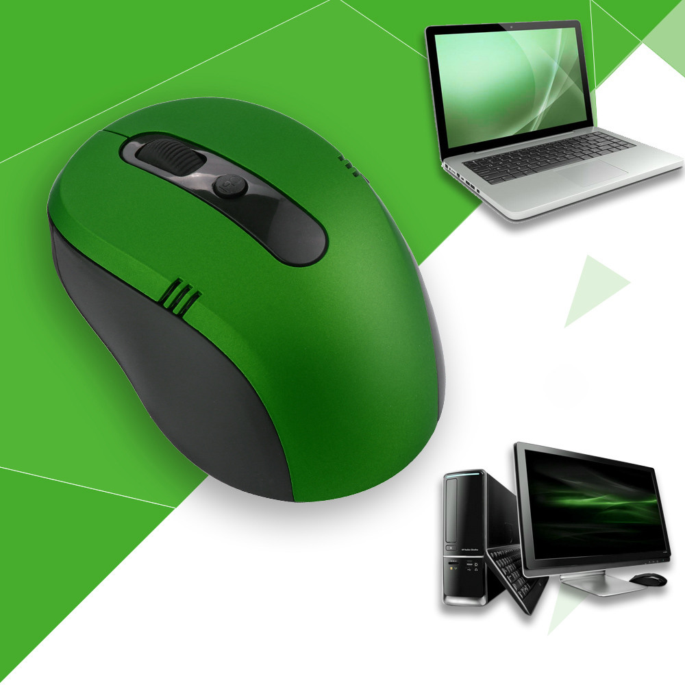 Wireless Mouse Cordless Optical Scroll 2.4GHZ Mouse PC Computer 6 Buttons APO  To 8M-15M 1600 Dpi For Windows Xp Mac LINUX