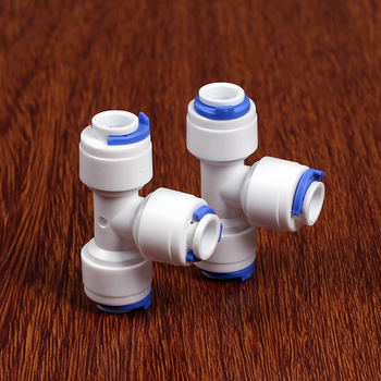 Fit 1/4 6.35mm OD Tube Tee 3 Ways Food Grade POM Quick Fitting Connector For Aquarium RO Water Filter Reverse Osmosis System image