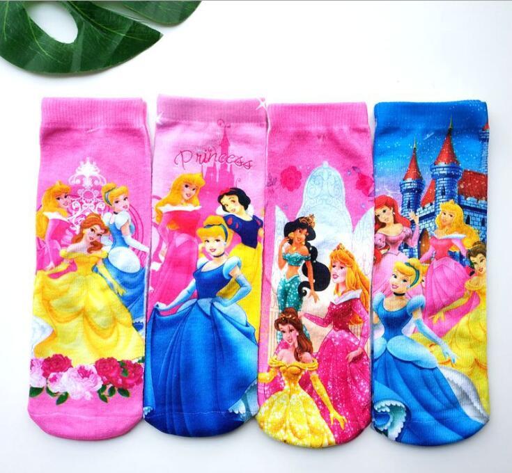 Cartoons Design Kids Mid-Length Socks Frozen Elsa Anna Princess Sofia Cars Mickey  Children Favorite Socks 3