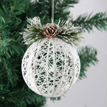 Artificial Pine Glittered Iron Wire Woven Ball Christmas Pendant Cone Ornaments Holiday Seasonal Decoration