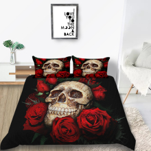 Thumbedding Skull Bedding Set Black Scary Romantic King Size Duvet Cover Rose Queen Twin Single Double Unique Design Bed Set