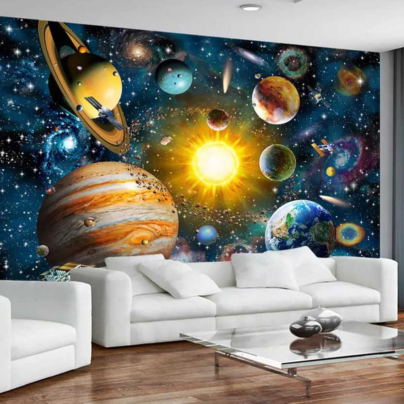 3D Photo Wallpaper Custom,Wallpaper Fleece Wall Decor Photo Wallpaper,Photo Wallpaper 3D Stereo Planet Universe Starry Sky Mural Wall Painting Cartoon Childrens Bedroom Background Wall Papers Decor