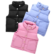 цена на 2019 Autumn Winter Warm Thicken Down Vest Jacket For Girls Coat Baby Boys Windproof Jacket Kids Outerwear Children Clothes