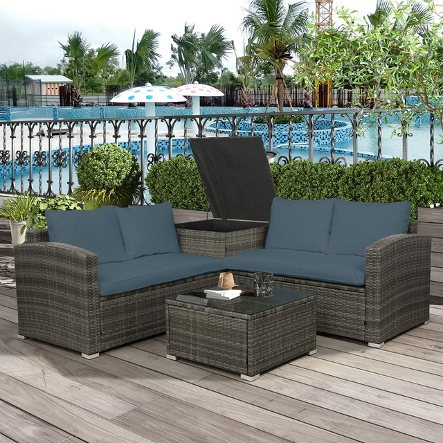 4 PCS Outdoor Cushioned PE Rattan Wicker Sectional  4