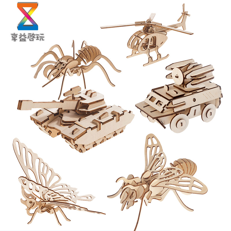 3D Wooden Three-dimensional Jigsaw Puzzle Children's Intelligence DIY Puzzle Board Toy Wooden Car Airplane Laser Cutting 1