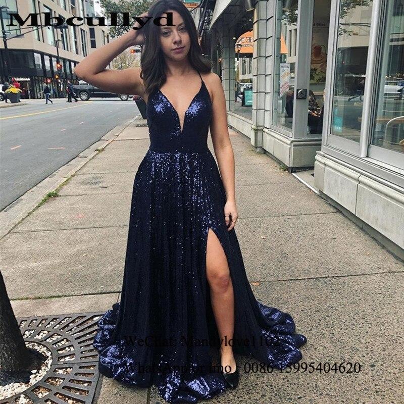 Mbcullyd paillettes bleu marine robes de soirée longue 2020 Sexy fendu robe africaine robes de bal pour les femmes Vestidos de fiesta de noche
