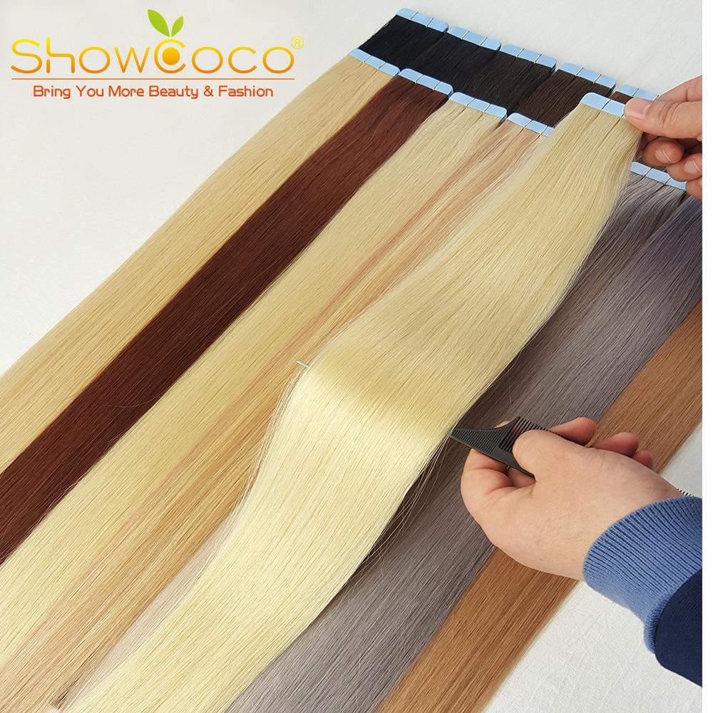 ShowCoco ленты для наращивания волос человеческие волосы, машинное изготовление, двухсторонние клейкие ленты для наращивания волос Remy 20/40 шт., л...