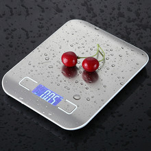 10kg Household Kitchen Scale Electronic Food Scales Diet Scales Measuring Tool Slim LCD Digital Electronic Weighing Scale XNC cheap Rectangle MQ33917 LED Display Stainless Steel Battery 5000g 1g 10000g 1g 18*14*1 7cm 2*AAA((not included)