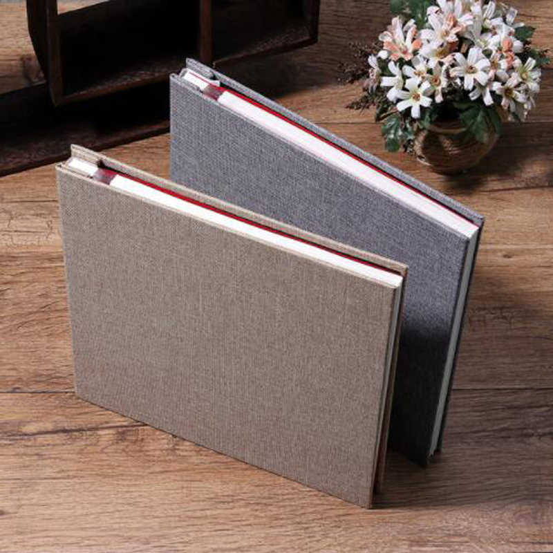 Simple Style 16 inch Self-adhesive Linen Cover Album White Inside Page DIY Album Family Lovers Child Handmade Creative Gifts
