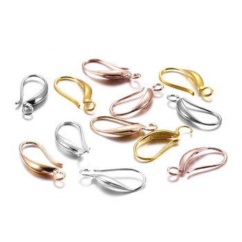 12pcs 17x8mm Copper Rose Gold French Earring Hooks Ear Clasps Settings Ear Wires For DIY Jewelry Making Findings Accessories 12pcs diy accessories color protection plating ear hook plating simple thread earrings spring ear hooks for women