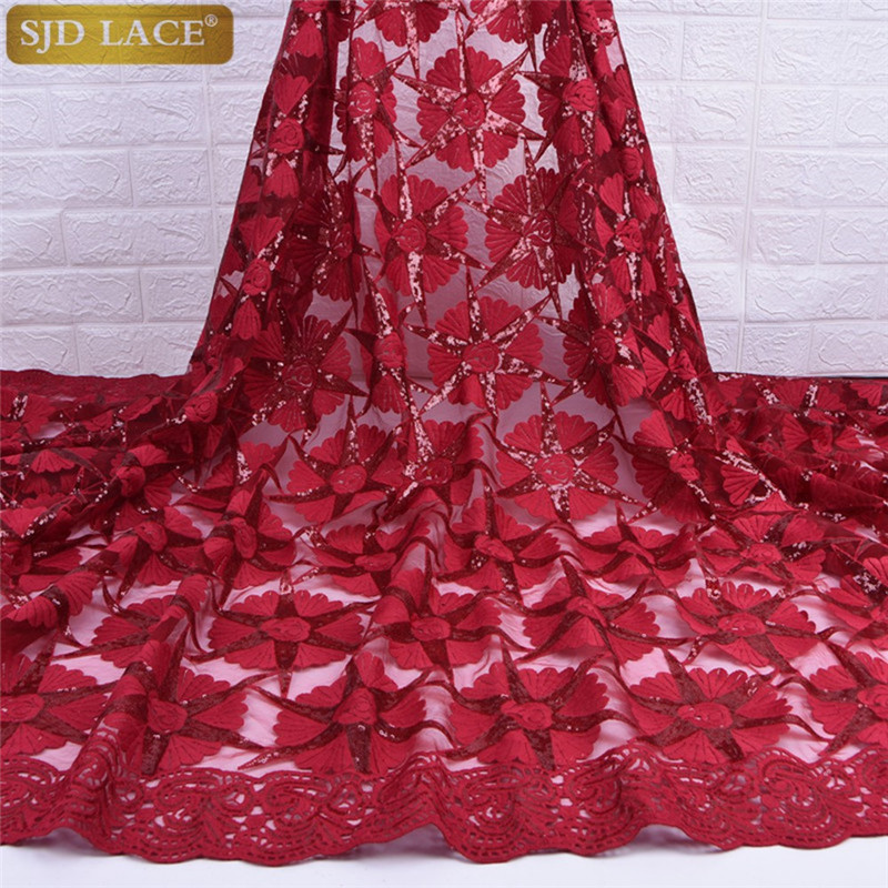 Red Milk Silk Lace African Nigerian Net Lace Fabric With Sequins High Quality French Mesh Lace Fabric For Wedding Sewing A1733-in Lace from Home & Garden