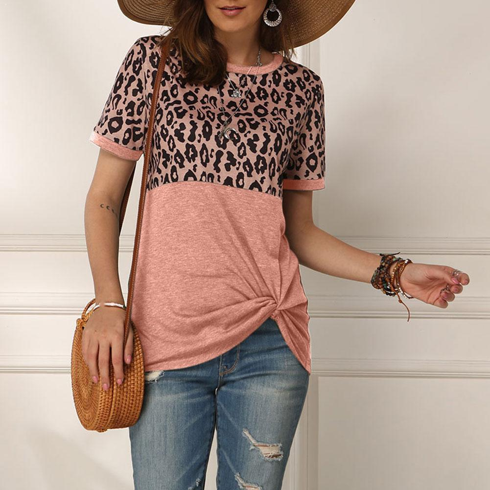 Women's Leopard Print Stitching Short-sleeved T-shirt Print Top O Shirt Short Tee Neck Ladies Women Women Sleeve Girl Y2P6