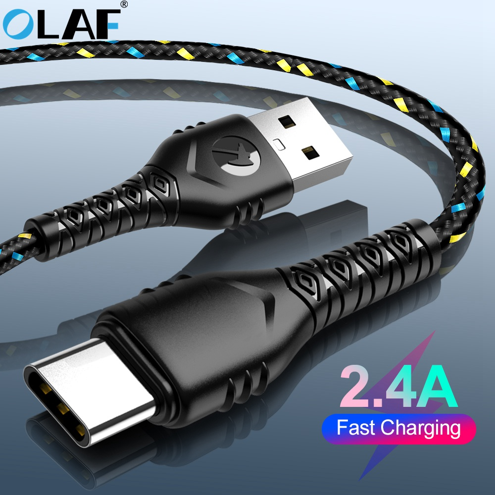 OLAF USB Type C Cable For Samsung S10 S9 A50 Xiaomi Redmi Note 7 USB-C Charger 2.4A Fast Charging Mobile Phone USBC Type-C Cable