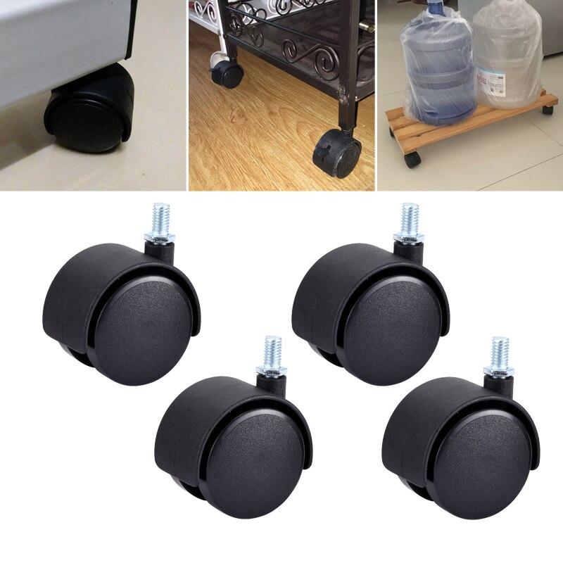 Myhomera parafuso de roda de móveis, 4 peças, rodas de mesa de móveis 40mm 48mm, sem freio, rodas giratórias, substituição de máquinas de carrinho silencioso, silencioso-0