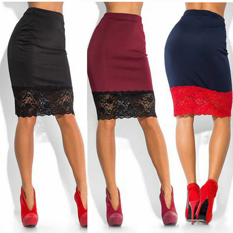 Women Formal Stretch High Waist Short Bodycon Mini Lace Pencil Skirt Fashion Solid Color Knee Length Women Skirt