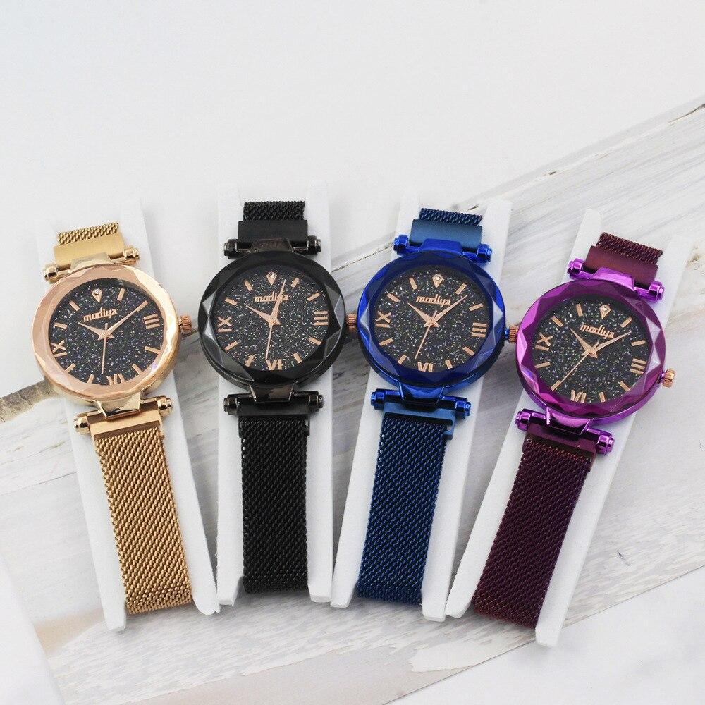 MODIYA Ladies Magnetic Starry Sky Clock Luxury Women Watches Fashion Diamond Female Quartz Wristwatches Relogio Feminino Zegarek