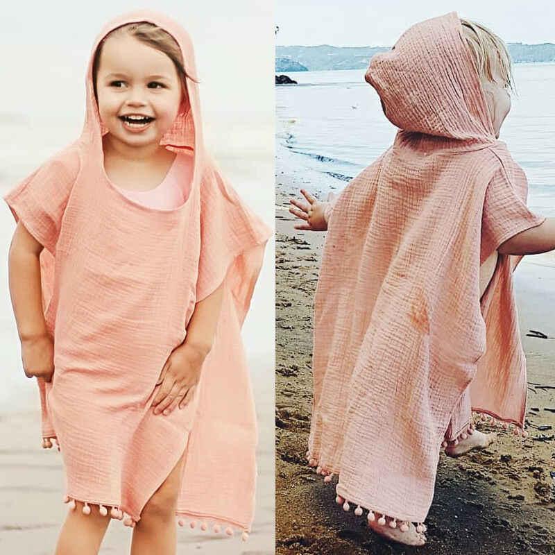 Śliczne letnie maluch dzieci dziewczynek chłopców Boho długi sweter peleryna okrycie plażowe jednokolorowa na co dzień dzieci bluza z kapturem bluzka
