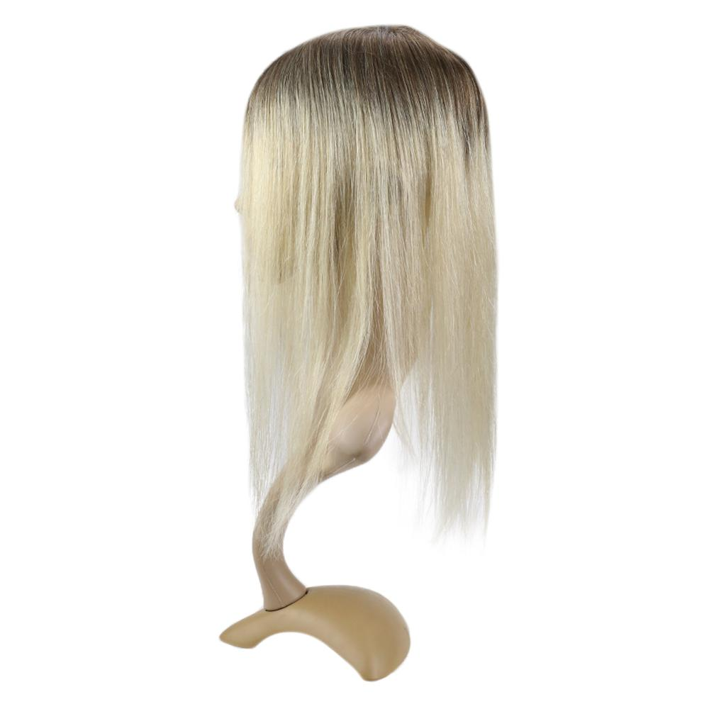 Full Shine Hair Topper 6.5*2.25 Inch #3/8/613 Remy Human Invisible Hair Piece Mono Clip In Hair Crown Extensions Straight  Woman