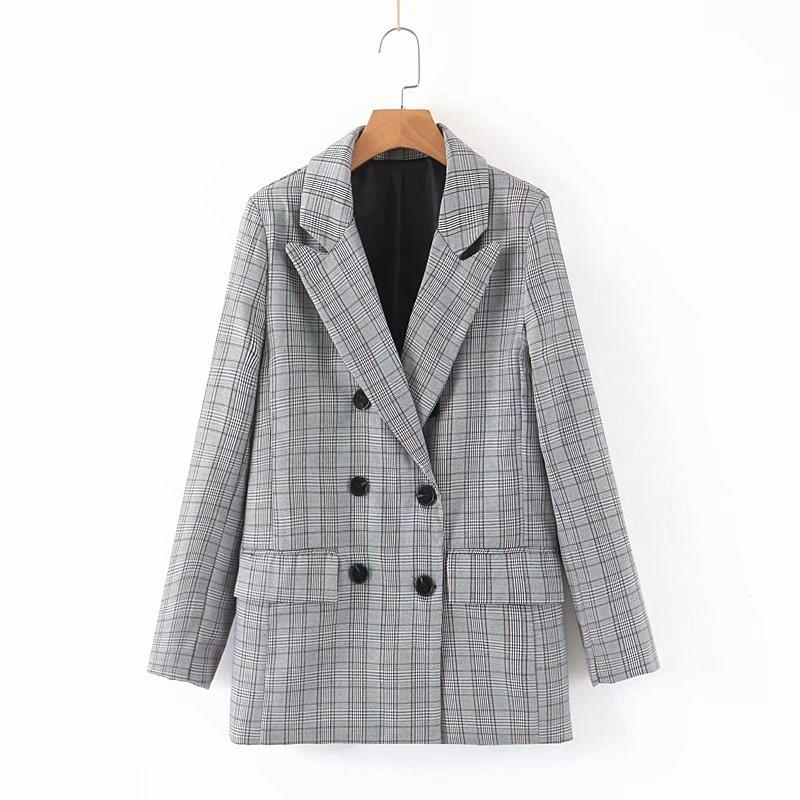 Vintage Double Breasted Two Piece Set Women Plaid Coat Straight Pants Set Blazer Suit Office Lady Office Wear Work Outfits